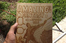 Wood-Carved Comic Books