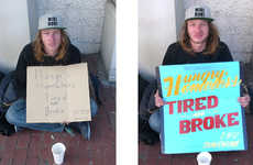 Graphic Humanitarian Homeless Signs - These Painted Homeless Signs Attract Attention