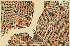 Vibrant Conceptual City Maps - Jazzberry Blue's Abstract City Maps are Imaginatively Informative