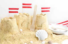 Beachy Sand Castle Cakes - This Sand Castle Cake is Made from Graham Crackers and Ice Cream