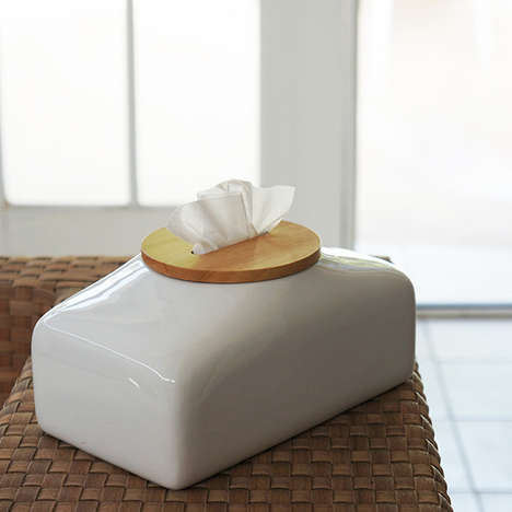 Stylish Tissue Boxes - This Stylish Tissue Box Looks Like a Ceramic Jar with a Wooden Lid