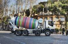 Kinetic Multicolor Truck Sculptures - The 'Revolver' Project Radically Transforms a Cement Mixer