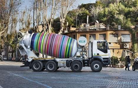 Kinetic Multicolor Truck Sculptures