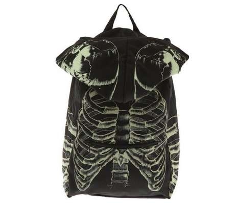 This Hooded Backpack Glows In the Dark as a Skeleton