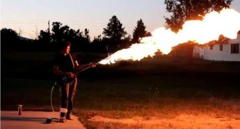 Guitar-Mounted Flamethrowers