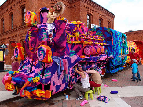 Yarn-Bombed Train Installations