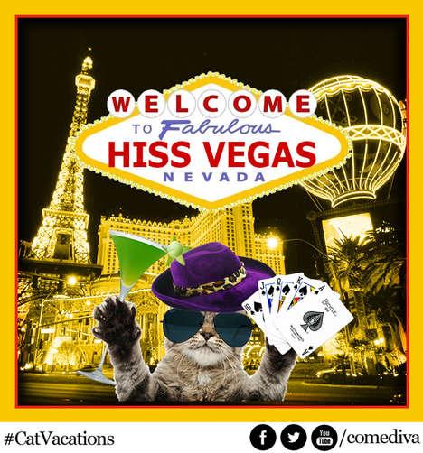 Fake Feline Travel Advertisements