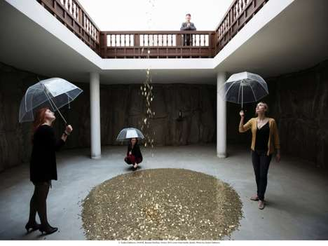 Golden Rain Installations - The Venice Biennale Russian Pavilion Recreates Greek Fable