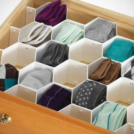 Honeycombed Organizational Tools - This Drawer Organizer is Fit for the Queen Bee