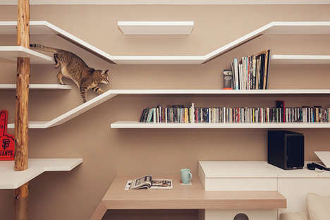 Multi-Purpose Cat Shelving - The Cat Friendly Living Room is Designed to Keep Critters Busy