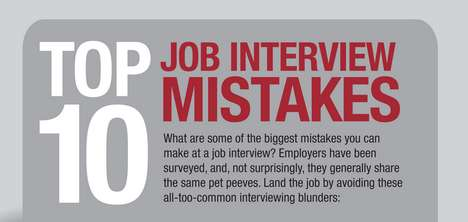 Helpful Hiring Hint Charts - These Top 10 Job Interview Mistakes Must Be Avoided at All Costs