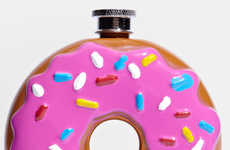 Sugary Drink Dispensers - The Frosted Donut Flask from Fred Flare is Sprinkle-Adorned