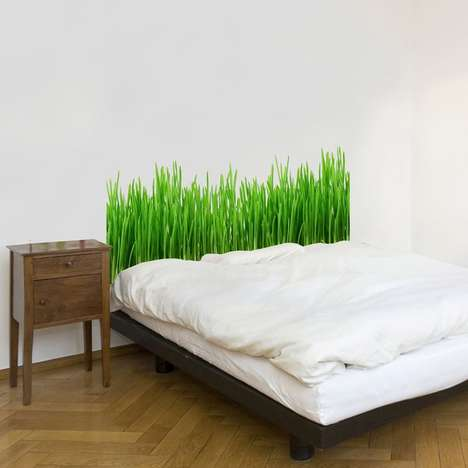 Bold Bladed Headboards - This Green Headboard Decal Resembles a Bed of Grass