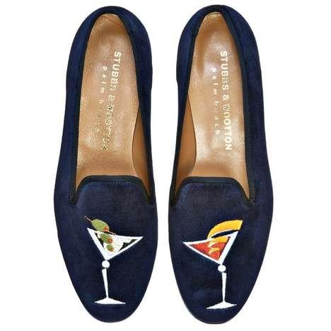 Martini-Embossed Footwear