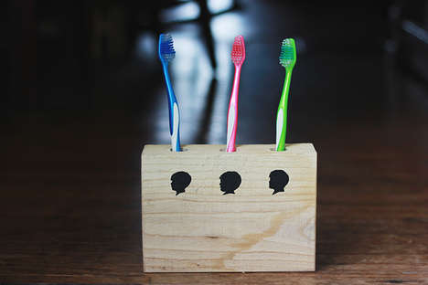 Personalized Timber Toothbrush Holders