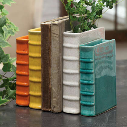 Add Lovely Flowers to Your Bookshelf with the Terracotta Bookend Vase