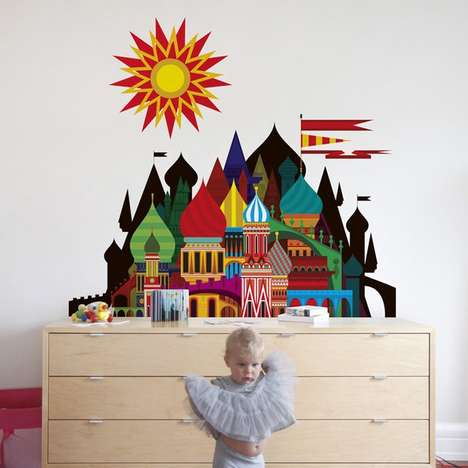 Scorching Castle Wall Decals - This Children's Wall Decal Features a Graphic of an Imaginary Castle