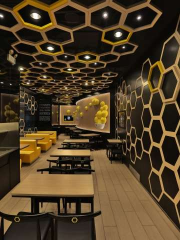 Hexagonal Honeycomb Restaurants - Rice Home by AS Design Service is Bee-Inspired