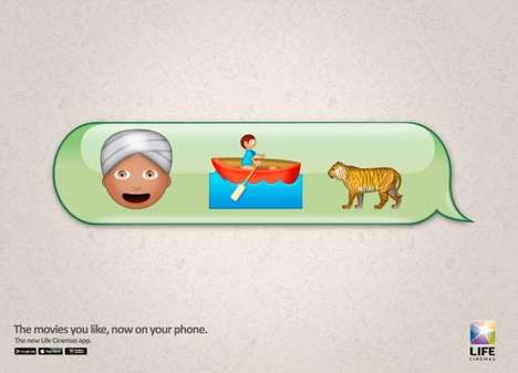 Clever Emoji Campaigns - The Life Cinemas App Advertisements Reflect Modern Communication