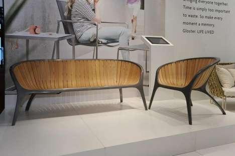 Metal-Framed Wooden Seats