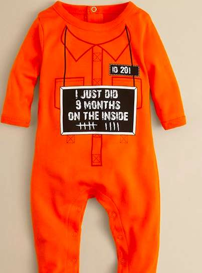 Newborn Prison Onesies - The Nine Month Footie by Sara Kety is Filled with Crimes and Cuteness