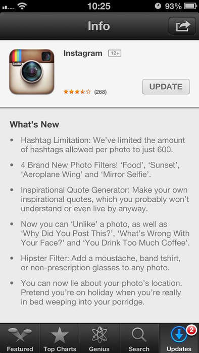 Social Media Update Parodies - This Mock Instagram Update Imagines New Filters and Features