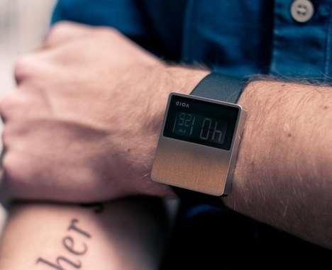 Sleek Chrome LCD Timepieces