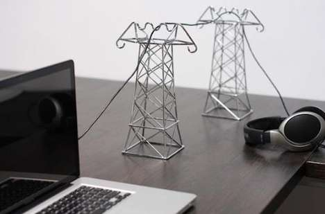 Transmission Tower Cord Holders - The Power Line Cable Holder Makes Your Desktop Appear Scenic