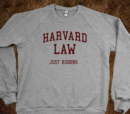 Elitist Joke Sweaters - Add Some Humor to Your Closet with the Harvard Law Just Kidding Sweater