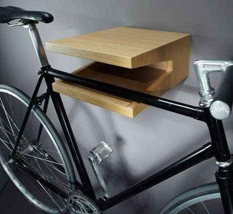 Minimalist Handcrafted Bike Shelves - The 'Molletta' Bike Shelf Frees Up Space with Flair