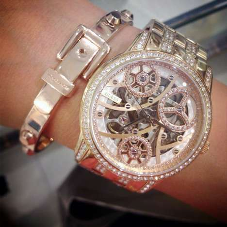 Sumptuous Blinged-Out Timepieces - The Guess 'Elegant Automatic Watch' Merges Style and Extravagance
