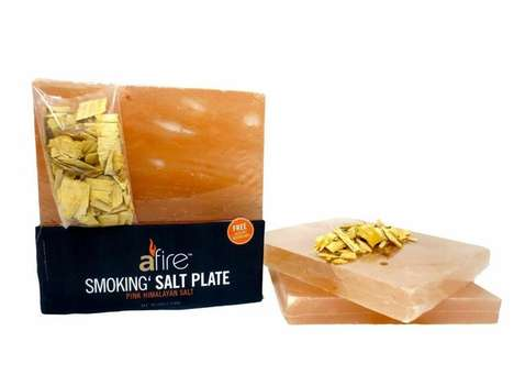 Gourmet Salt-Infused Dishware - The 'Afire Smokin' Salt Plate' Enhances Food with Himalayan Salt