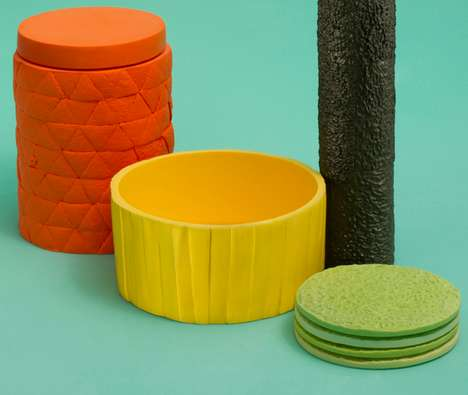 Peeled Produce Pottery - The Fruit Ninja Design Collection is Based on Real Fruit Textures