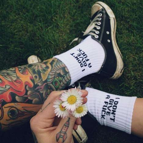 Edgy Apathetic Socks - These Expressive Socks are Definitely an Example of Edgy Clothing