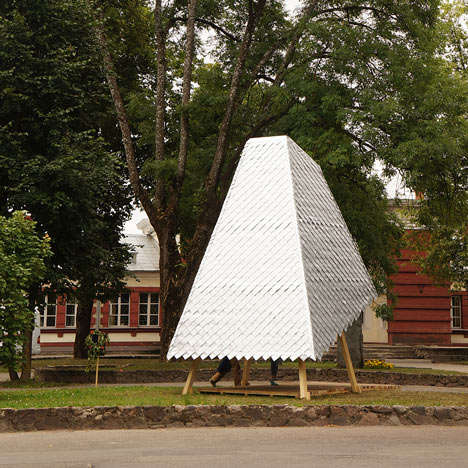 Green Pop-Up Libraries - Latvia's Story Tower is Made Using Local Wood and Recycled Juice Cartons
