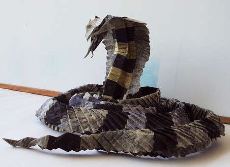 This King Cobra Tissue Paper Sculpture is Made Out of a Single Piece