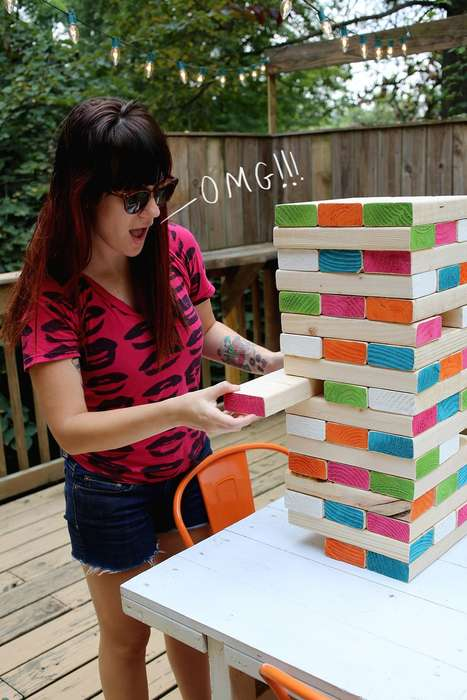 DIY Giant Jenga Games - Blog 'A Beautiful Mess' Teaches You How to Build Your Own Giant Jenga