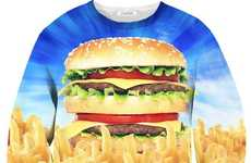 Realistic Burger-Inspired Sweaters - The 'Holy Burger' Shirt Celebrates the Classic Sandwich