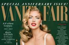 Stunning Celebratory Magazine Covers - The Kate Upton Vanity Fair Issue is Both Seductive and Classy