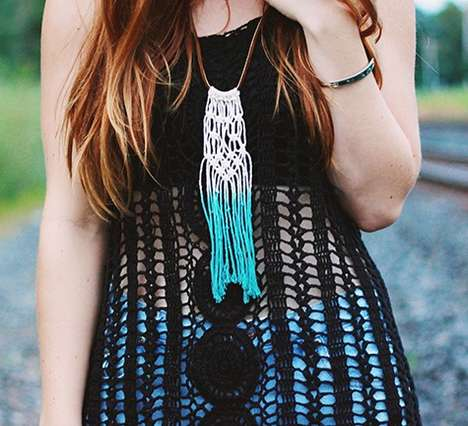 DIY Dip-Dyed Jewelry - The Merrythought Shows How to Make this Macrame Tassel Necklace