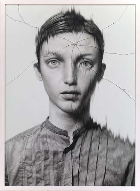 Bizarre Cracked Drawn Portraits - Taisuke Mohri's Detailed Pencil Work is on Display in These