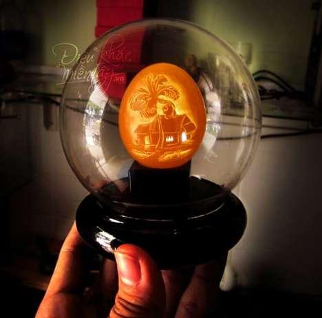 Intricate Illuminated Egg Artwork