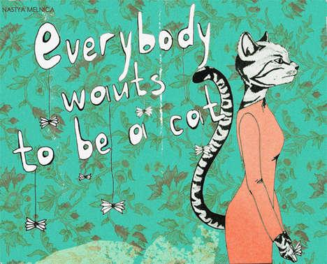 Surrealist Pop Kitty Illustrations