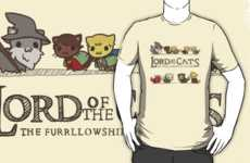 Fantasy Series Feline Fashion - The Furrllowship of the Ring Shirt Features Cats in Movie Costumes