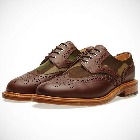 Classic Army-Inspired Brogues - The Two-Tone Camo Brogue Combines Both Casual and Dressy Attire