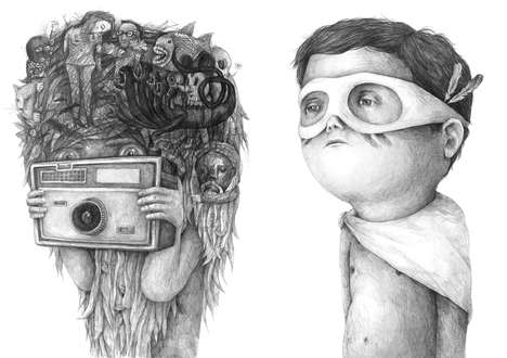 Surreal Children Drawings - Stefan Zsaitsits' Disturbing Drawings Depict Children in an Unusual Way