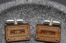 Retro Cassette Cufflinks - These Antique Wooden Cufflinks are Ideal for Male Music Lovers