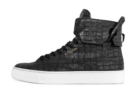 Luxe Reptilian High-Tops - The En Noir x BUSCEMI High-Tops Feature a Crocodile Emboss