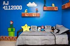 Video Game-Inspired Bedrooms - The Super Mario Bedroom is a Screenshot of the Classic Nintendo Game