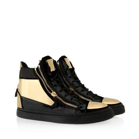 Futuristic Hi-Top Sneakers - The Super Gold High-Top Sneakers Shimmer in an All-Gold Design